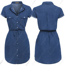 NEW Womens Longline Denim Shirt Dress Ladies Jean Dress Blue Size 6 8 10 12 14