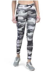 $70 Women's REEBOK Active Leggings High Rise Camo Black Printed W/ Pockets S M L