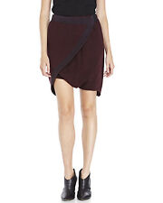 NWT DAMIR DOMA SILENT Burgundy 100% Cotton WRAP-STYLE Sweat Shorts Skorts M