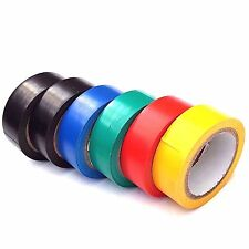 6 x PVC Insulation Tape Assorted Colour Flame Retardant Coloured Electrical 3M