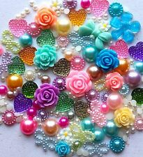 20g PASTEL MIX Pearls/Roses/Gem Flatback Kawaii Cabochons Decoden Craft Crystals