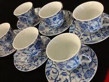 7 oz Coffee 12 Pc Cup Saucer Set Cappuccino Tea Coffee Chocola Fancy Blue Gift