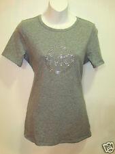 NWT Michael Kors Gray Studded MK Signature Logo Cotton Basic Shirt Small NEW