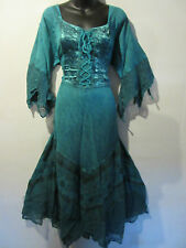 Christmas Holiday Dress 2X 3X Plus Teal Green Corset Lace Up Chest & Hem NWT 522