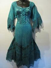 Dress 1X 2X Plus Renaissance Teal Blue Sexy Corset Lace Up Chest & Hem NWT 522