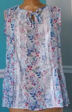 LC Lauren Conrad Women's Lace Trim Floraltank Top Blouse Size Medium -