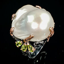 Handmade Natural Baroque Pearl 925 Sterling Silver Ring Size 8.75/R79034