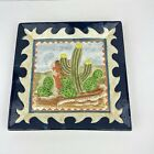 Vintage Hand Painted Ceramic Cactus Southwestern Square Plate 3D Wall Hanging