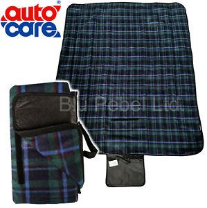 AUTO CARE GREEN TARTAN PICNIC RUG CAR TRAVEL BLANKET WATERPROOF LINING 120x147cm