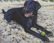 Labrador Retriever CANVAS PRINT of LAShepard painting dog  art  8x10 black lab
