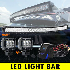 """Curved Slim 50""""inch 288W Combo LED Light Bar +4"""" Pods Offroad SUV   Truck 52"""""""