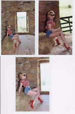(3) risque semi-nude model photos, busty mature blonde posing, shorts #1 GP-404