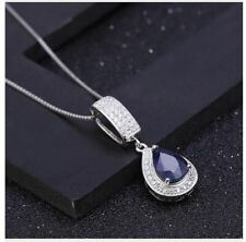 """925 Sterling Silver Necklace 1.29Ct Natural Blue Sapphire Gemstone 45CM or 18"""""""