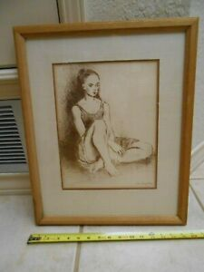1969 VINTAGE MOSES SOYER BALLET DANCER ORIGINAL LITHOGRAPH  SIGNED IN THE STONE