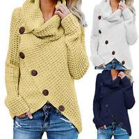 UK Womens Long Sleeve High Neck Loose Knitted Sweater Ladies Casual Jumper Tops