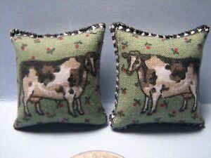 "Dollhouse Miniature Green Toss Pillows Featuring Cows & Apple Trees 1 1/4"" x 1 1"