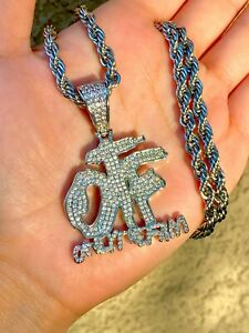 Mens Women Icy Silver Finish OTF Only The Fam Iced Pendant Rope Chain Stamp