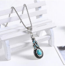 Popular Hot Tibetan Silver Blue Turquoise Chain Crystal Pendant Necklace Jewelry