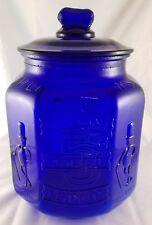 Planters Peanuts Cobalt Blue Glass Octagon Shaped 5 Cents Salted Peanut Jar