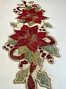 Cynthia Rowley Christmas Holiday Red Green Poinsettia Flower Beaded Table Runner
