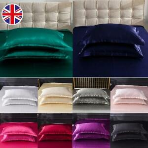 2Pack Soft Pure Silk Satin Pillowcase Pillow Case Covers Standard Bed Home Decor