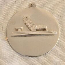 Vtg Ice Skating Medal Pendant Charm Necklace Jewelry Metal Winter Sports Skate