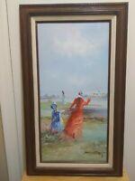 Original Rare Marie Charlot Beach Scene Oil Painting On Canvas, Framed