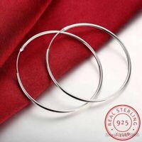 Echt 925 Sterling Silber Hoop Band-Ohrringe 50-60mm Runde Kreis Schleife Damen.