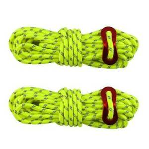 2PCS Reflective Tent Ropes Awning Guide Camping Rope Green Line W/ Buckle UK