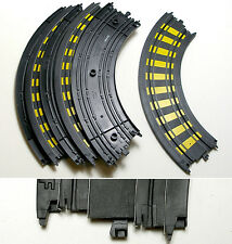"6 TYCO Mattel HO 1/4 9"" Curve Track Cool Yellow Trim A+"