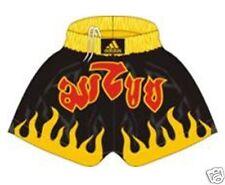 Adidas Muay Thai - Kickboxen Shorts. Schwarz/gelb Flamen. Thaiboxen, MMA Hose,