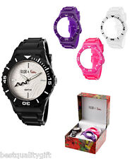 NEW FALCHI INTERCHANGABLE BLACK+WHITE+PINK+PURPLE BAND+SILVER DIAL WATCH-101785