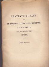 Turquie Armenie Traité Paix Sévres 1920 Trattato di Pace texte italien Arménie