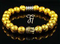 Lava galvanisiert Armband Bracelet Perlenarmband Buddhakopf gold 8mm
