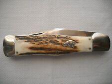 old antique KA-BAR union cut co. olen n.y. dog head 5 3/8 inch stag pocket knife