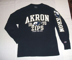 Akron Zips Fear The Roo Blue Long Sleeve Two Sided Medium Shirt Champion Cotton