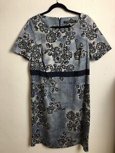*DFSS* Marina Rinaldi Size 21 (AU 16) Navy Blue Lace Print Shirt Sleeve Dress