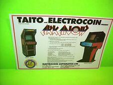 Taito ARKANOID Original NOS 1986 Video Arcade Game Flyer Electrocoin Rare UK