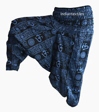 COTTON ALI BABA COTTON BLUE OM PRINT YOGA WOMAN PANT TROUSER GYPSY BOHO HIPPIE