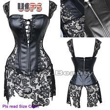 Fancy Goth Corset Outfit Dress Set Burlesque Party Bustier Lingerie Plus Size
