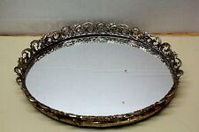 Vintage Ornate Gold Tone Metal Mirror Vanity Dresser Tray Oval 12� X 9�