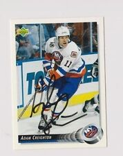 92/93 Upper Deck Adam Creighton New York Islanders Autographed Hockey Card