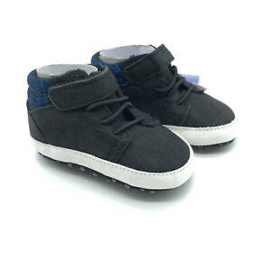 Valen Sina Baby Boys Sneakers Soft Sole Hook & Loop Faux Suede Black Size 1