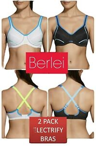 New 2 Pack Berlei Electrify Bra Underwire Sports Womens Ladies Gym Bras