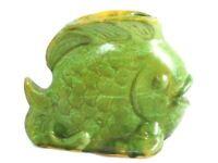 Vintage Mis Century  Pottery Fish Green Whimsical Art Moderne 1950s