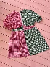 Stunning Gingham Tea Dress Two Tone Pink Green Gingham Check V Neck Dress 16 New