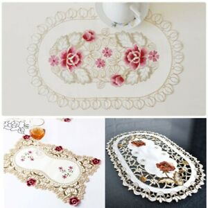 Embroidered Lace Tablecloth Floral Table Runner Doily Wedding Party Satin Decor