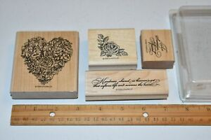 Stampin' Up! Rubber Stamps 1998 KINDNESS SHARED FLOWER HEART CORNER GREETING