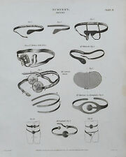 1812 Surgery Medical Trusses Antique Print Engraving Rees