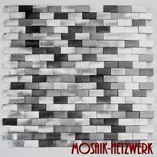 Mosaik Verbund Aluminium 3D mix silber/schwarz Fliesenspiegel 49-0208 10 Matten